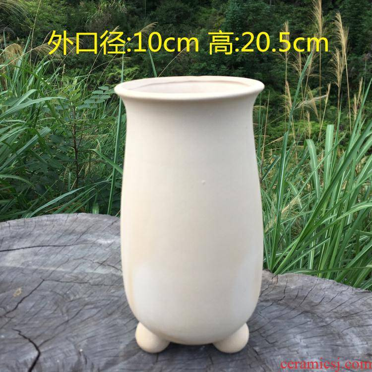 Flowerpot ceramic biscuit firing fangyuan form high Lao - zhuang fleshy basin creative hand - made with feet thoroughly with tao contracted floral outraged