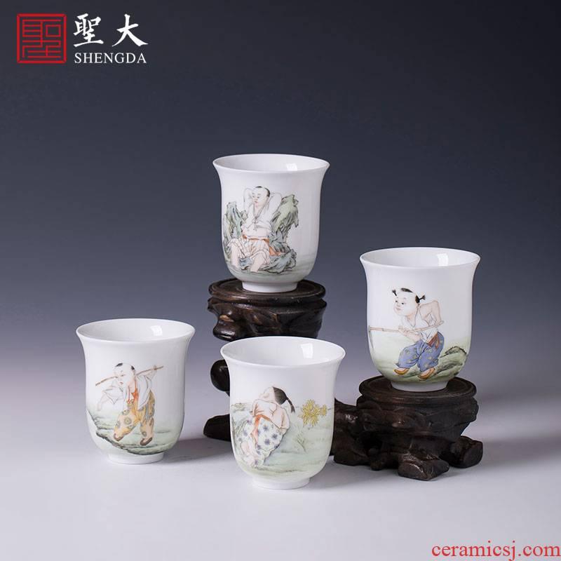 Santa teacups hand - made ceramic kungfu pastel summer tong qu set of jingdezhen tea cup master cup single CPU hand