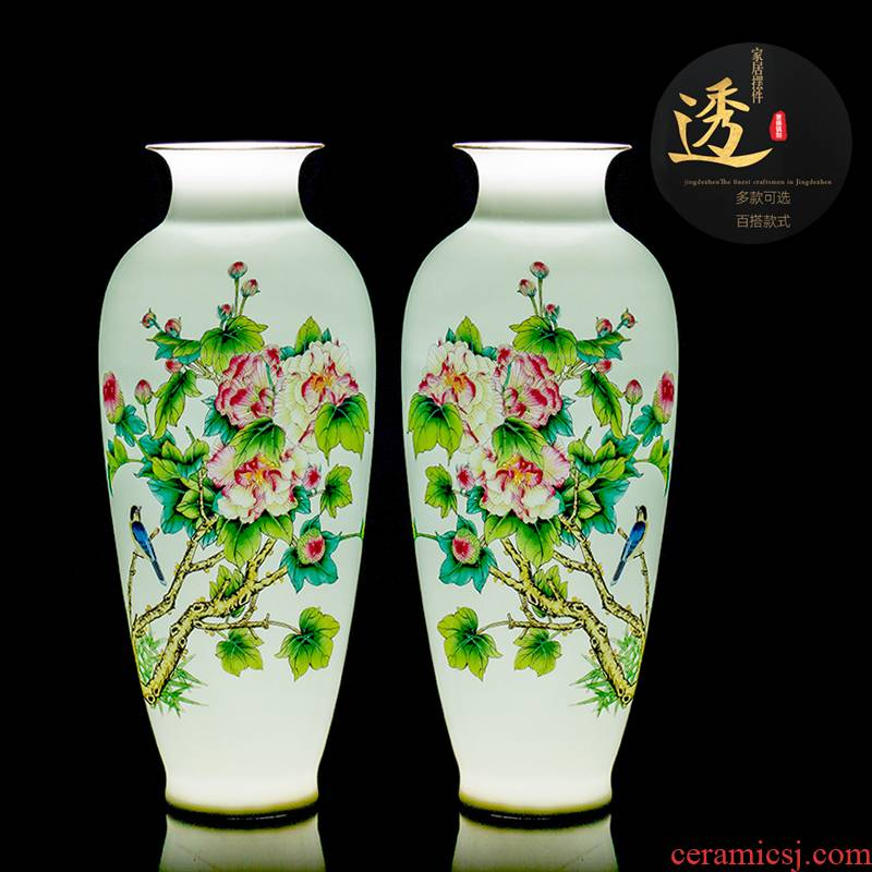 Jingdezhen ceramics vase high white mud thin foetus enamel porcelain painting of flowers and household decorations for bottle gift porcelain furnishing articles