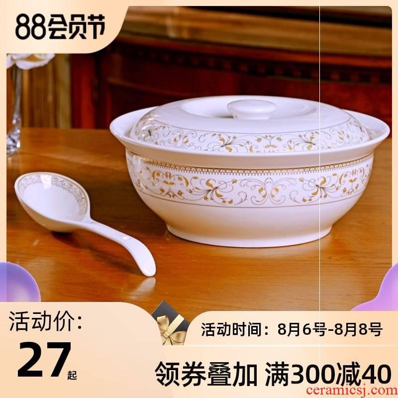 Jingdezhen with cover round ceramic soup pot pot soup pot dishes suit creative large - sized domestic large bowl of soup bowl