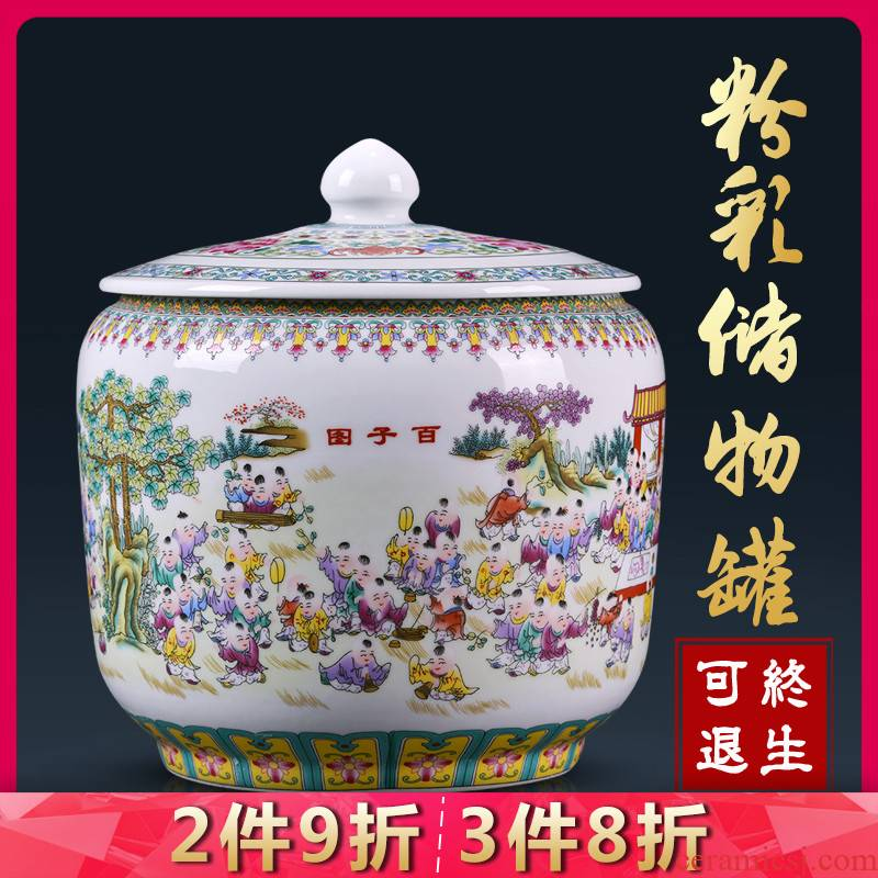 Jingdezhen ceramics tea pot home moisture storage tanks large puer tea cylinder storage tank decorative furnishing articles