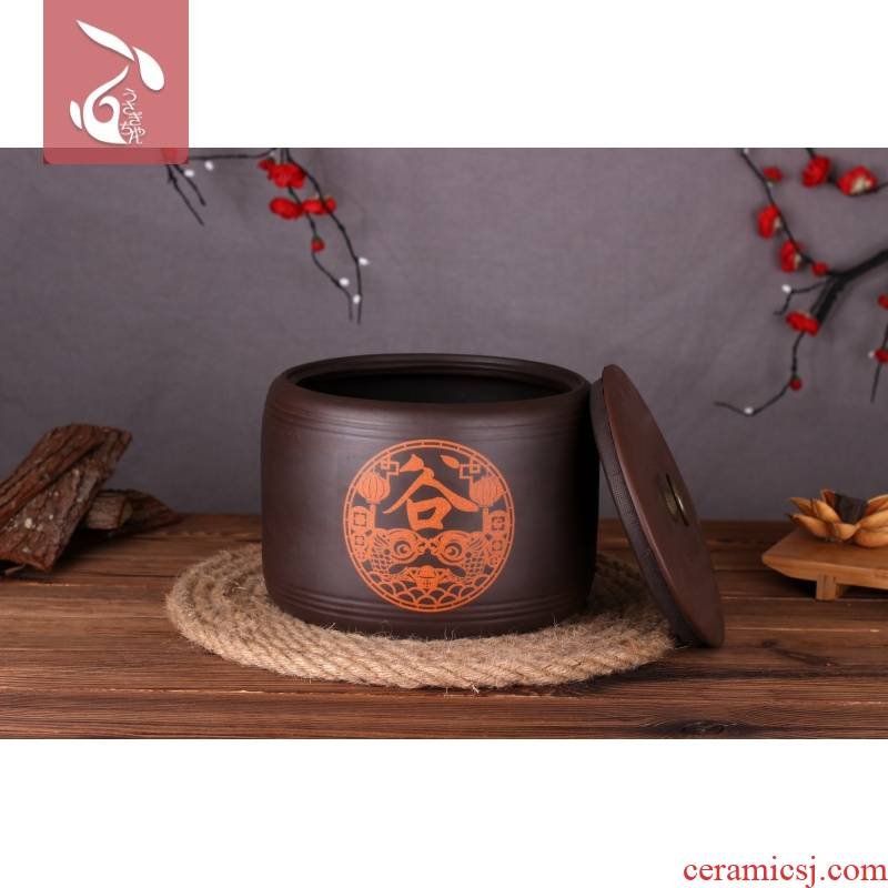 Ceramics with cover insect - resistant moistureproof and save the corn grains, kitchen pot purple pottery ricer box 10 jins 20 jins purple sand barrel