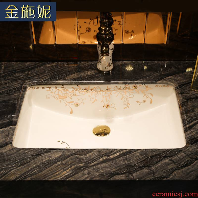 Gold cellnique ceramics undercounter rectangle embedded basin bathroom ark, under the basin that wash a toilet lavabo in use