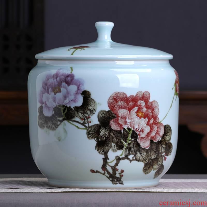 Jingdezhen hand - made seven cakes tea pot seal moisture large ceramic pu 'er tea urn storage POTS of household