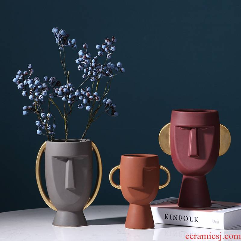 Face the vase Nordic ceramic creative furnishing articles contracted sitting room morandi soft adornment flower arranging dried flowers example room