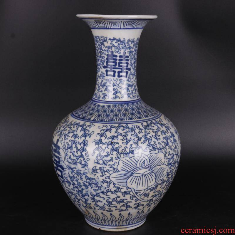The Qing qianlong happy character lines design blue and white tie up branches applique antique porcelain household of Chinese style furnishing articles old goods collection process