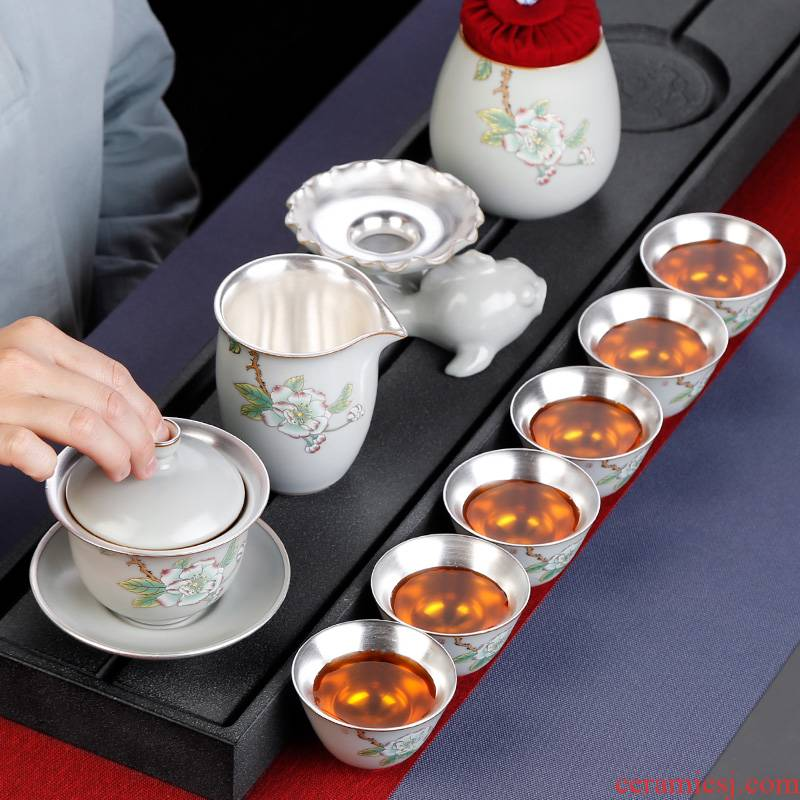 Kung fu tea sets tea cup home 6 sitting room tea creative office of jingdezhen ceramics silver tureen