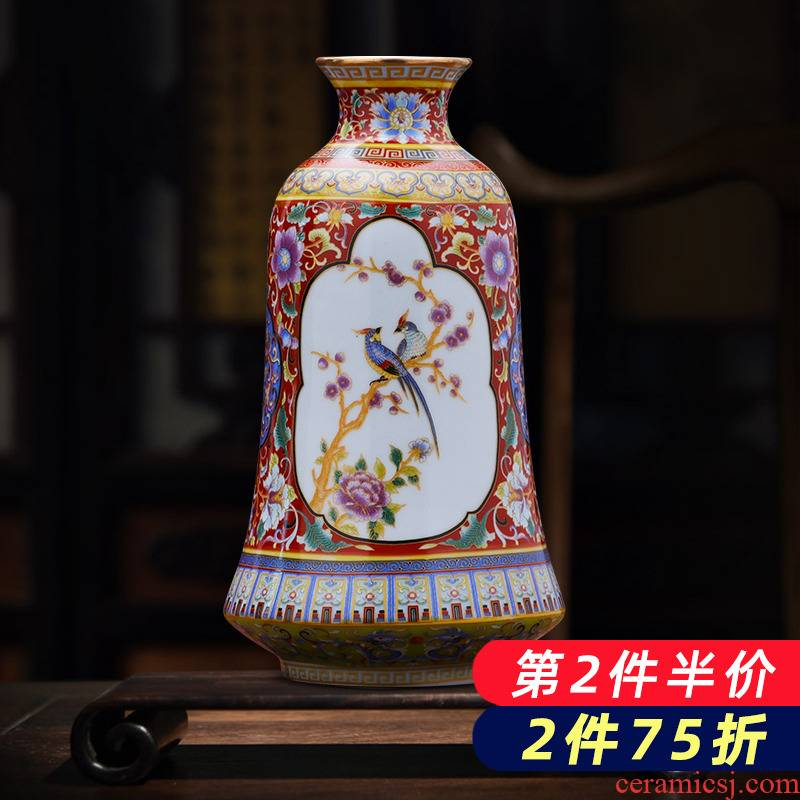 Jingdezhen ceramic antique colored enamel porcelain vase creative home furnishing articles flower arrangement rich ancient frame sitting room adornment