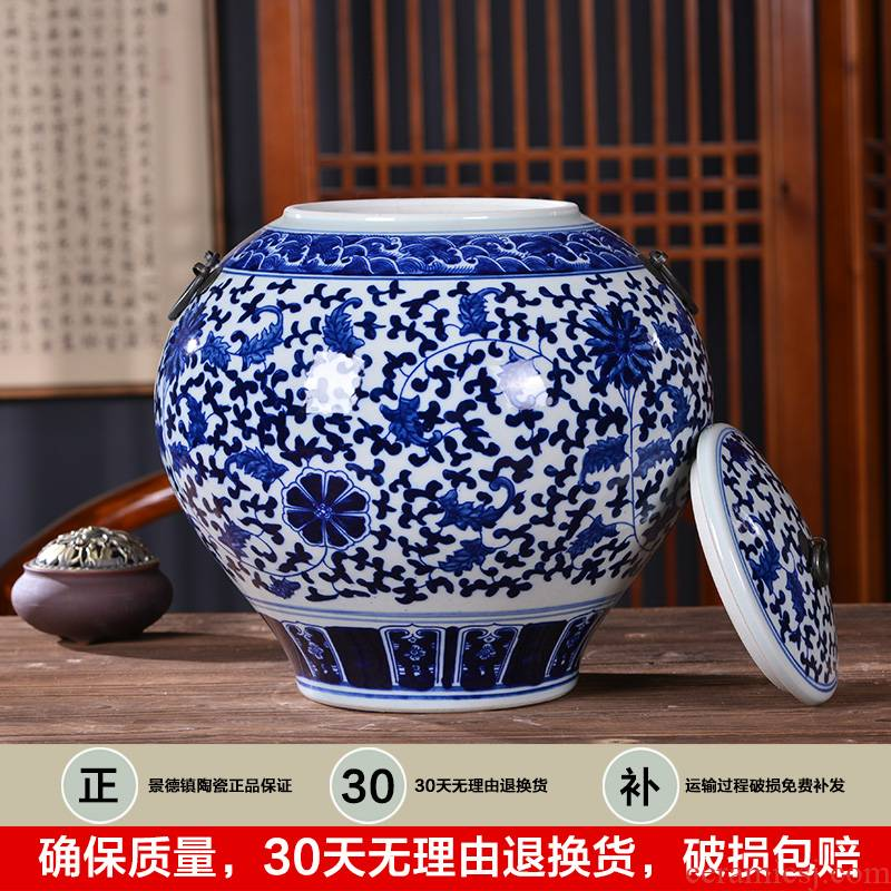 Jingdezhen ceramics general blue and white porcelain tea pot storage tank with cover to receive Chinese style household decorative furnishing articles