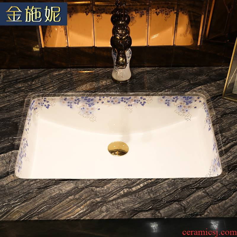 Gold cellnique contracted undercounter wei yu lavatory embedded ceramic toilet lavabo, square for wash basin