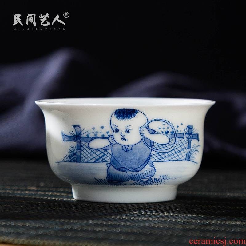 Jingdezhen ceramic hand - made master cup tong qu kung fu tea cups small bowl of blue and white porcelain individual cup sample tea cup