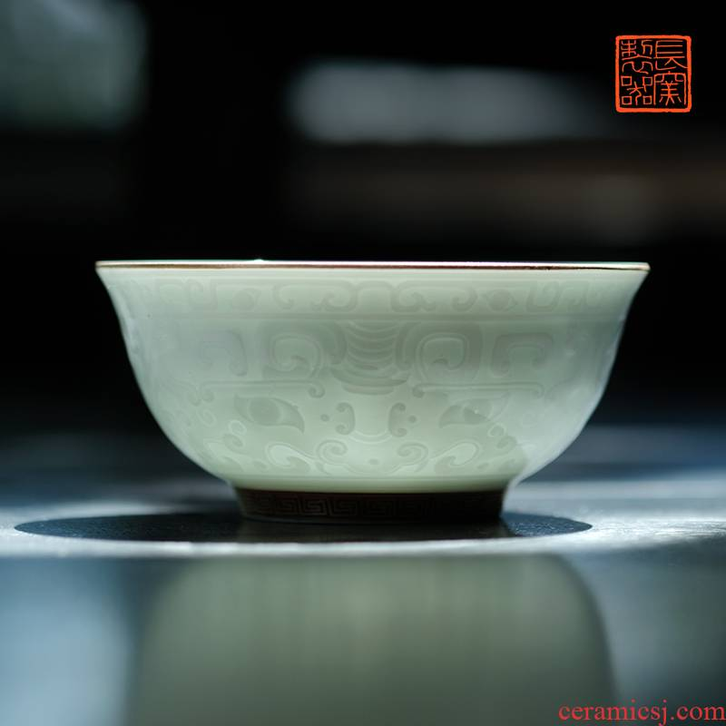 Offered home - cooked ju long up controller shadow green see colour meander small bowl carved beast jingdezhen antique ceramics by hand