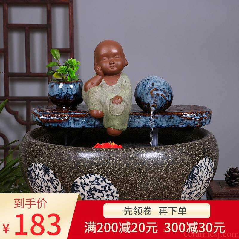 Ceramic aquarium water fountain furnishing articles sitting room desktop small Chinese style household geomantic a goldfish bowl fish bowl