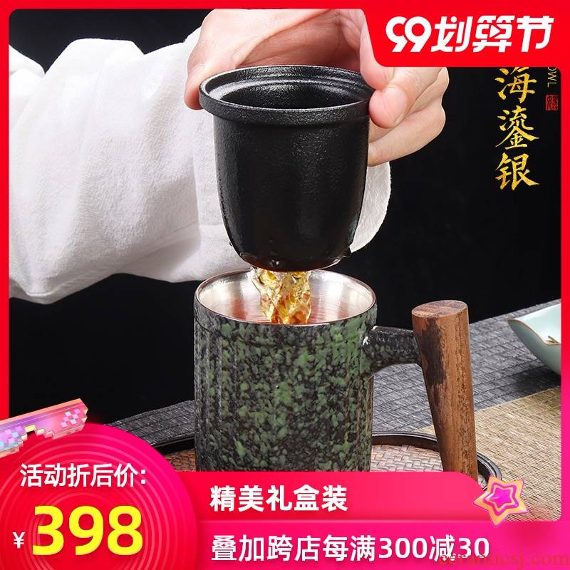 Artisan fairy coppering. As silver wood cup tea cup with cover the office ceramic cup mark filtration separation of tea cups