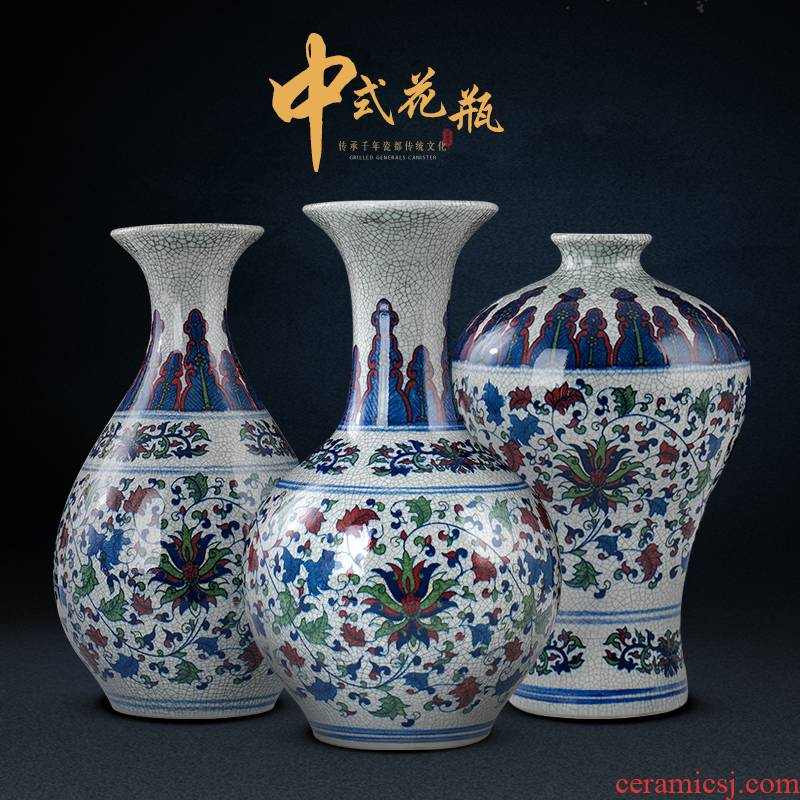 Archaize of jingdezhen ceramics up youligong of blue and white porcelain vase, general tank Chinese sitting room adornment is placed