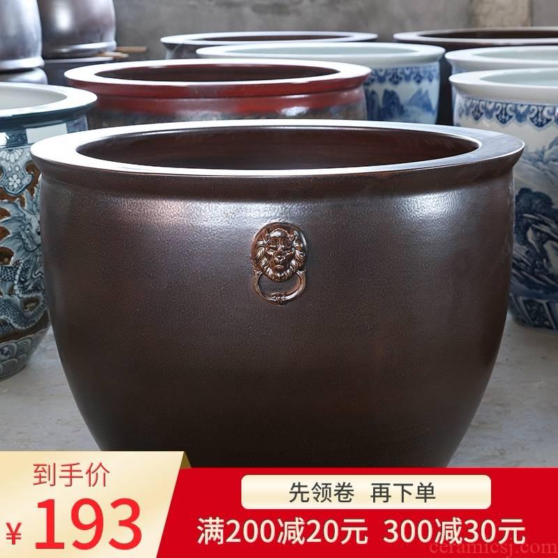 Jingdezhen ceramic VAT restoring ancient ways the tortoise water lily cylinder king sitting room is suing the big aquarium tank a goldfish bowl