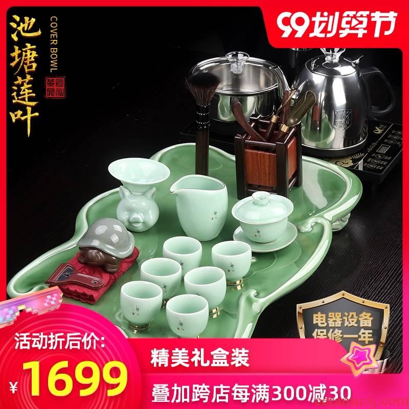 Artisan fairy kung fu tea set of household ceramic celadon of a complete set of tea tea tea tray was one Japanese contracted