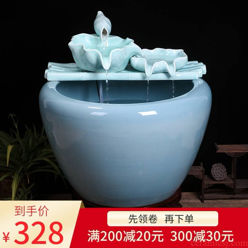 Jingdezhen ceramic goldfish bowl sitting room balcony office furnishing articles water tank to filter the yard cylinder fish bowl