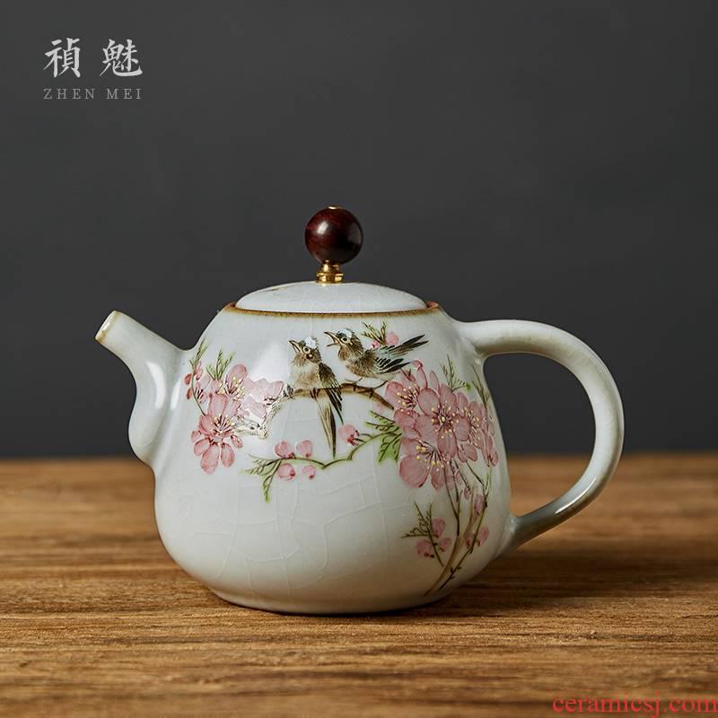 Shot incarnate your up hand - made water spot open peach blossom put jingdezhen ceramic teapot kung fu tea set household filter teapot