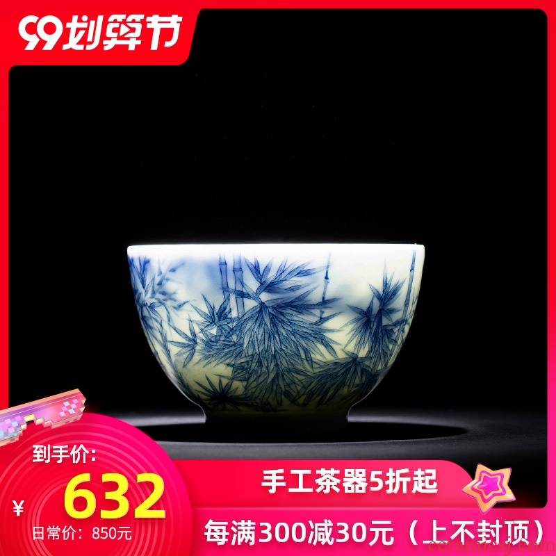 St the ceramic kung fu tea master cup pure manual hand - made details jingdezhen blue and white bamboo cup tea by hand