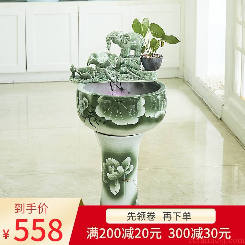 Creative new Chinese be born lucky furnishing articles and retro nostalgia ceramic water fountain in the sitting room porch office decoration