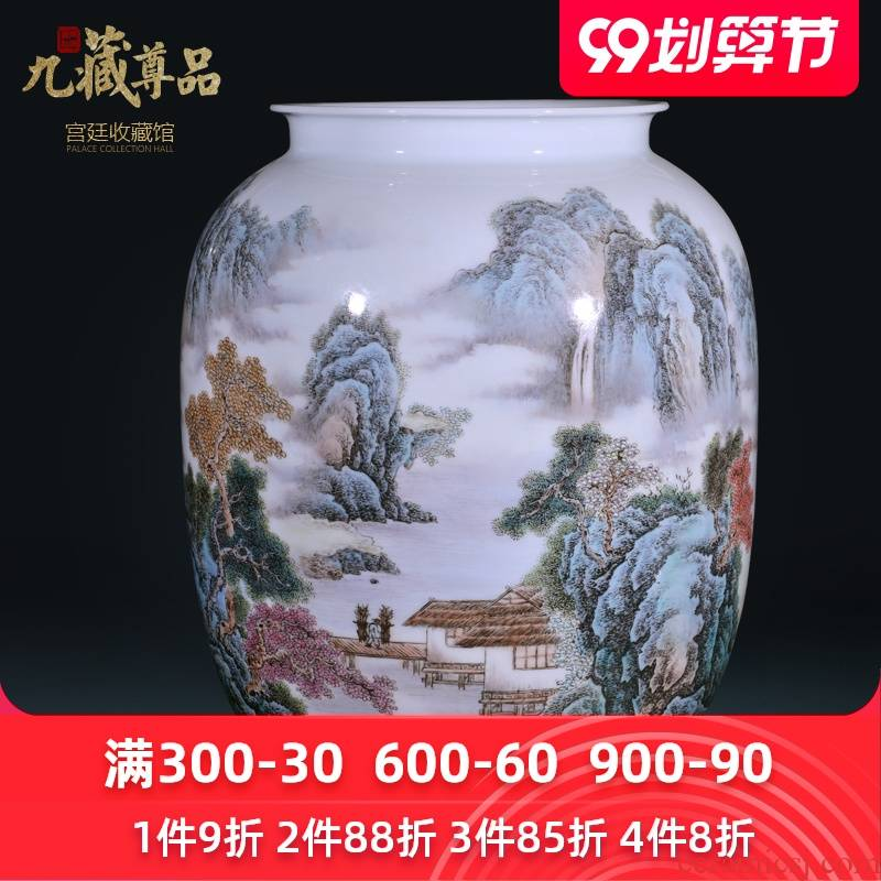 The Master of jingdezhen ceramics hand - made mountain pretty green jade vase Chinese style living room porch decoration vase furnishing articles