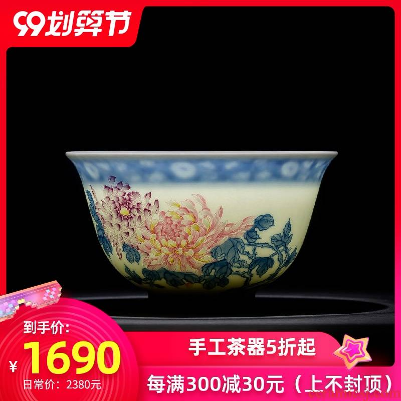 Santa jingdezhen ceramic kung fu tea cups all hand pure hand - made porcelain dou pastel lanqiu by tea masters cup