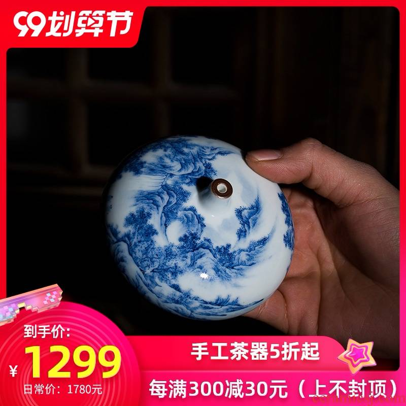 Holy big ceramic incense inserted paperweight jingdezhen blue and white landscape incense inserted paperweight hand - made all hand collectables - autograph komen porcelain