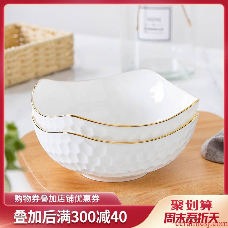 Jingdezhen ipads porcelain household water cube soup bowl creative dessert bowl up phnom penh ceramic tableware fruit salad bowl