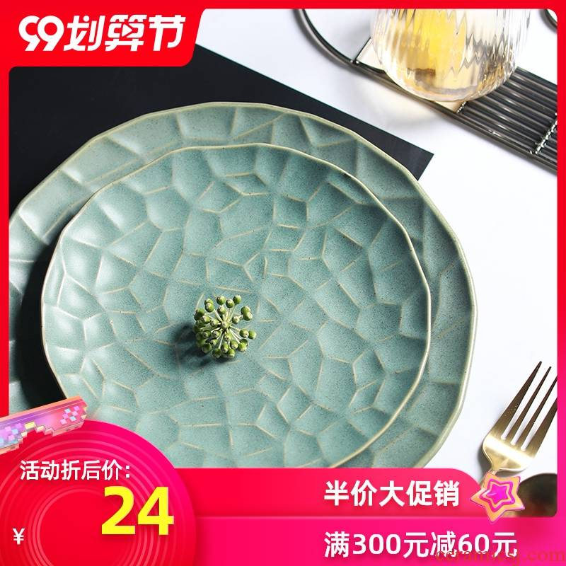 Northern wind ins creative checking ceramic tableware household food dish plate irregular dessert plate of beefsteak