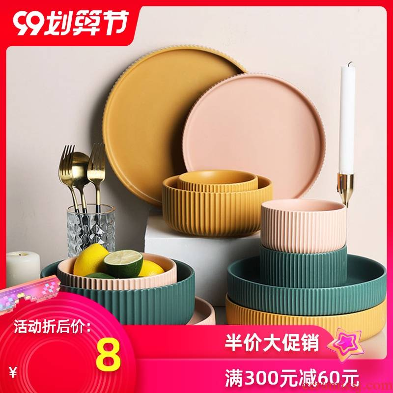 Nordic candy color tableware ceramic bowl of dumb light of household rainbow such use large soup bowl western soup plate plate