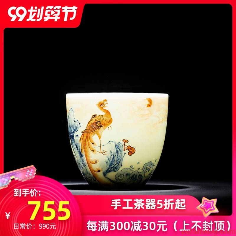 Santa teacups hand - made porcelain ceramic kung fu dou alum red see colour red phoenix in morning figure lying fa cup jingdezhen tea by hand