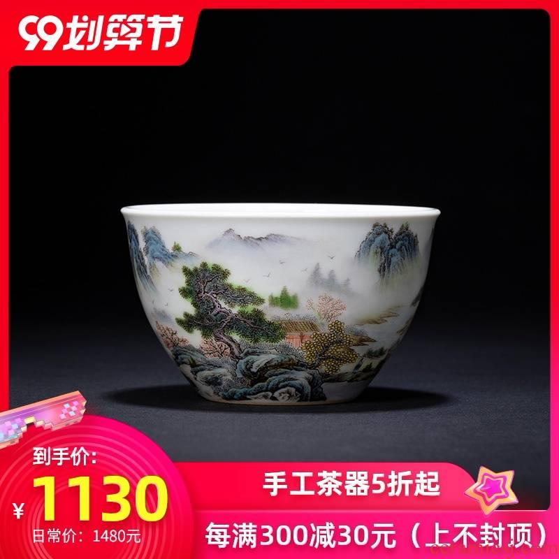 Santa teacups hand - made ceramic kungfu pastel landscape forest yu Yin figure masters cup sample tea cup of jingdezhen tea service