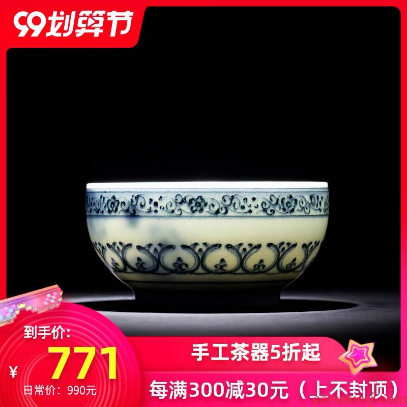 The big cup sample tea cup hand - made ceramic kung fu maintain jingdezhen blue and white figure baby play master cup tea by hand