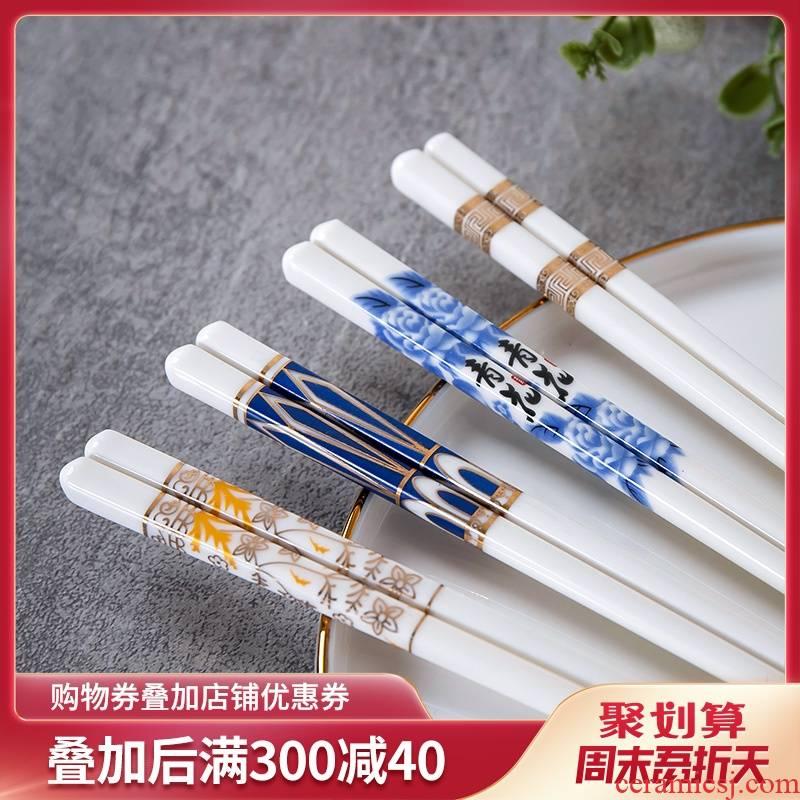 Jingdezhen ceramic chopsticks family gifts household light ipads China key-2 luxury European - style 10 pairs of mouldproof antiskid gift chopsticks