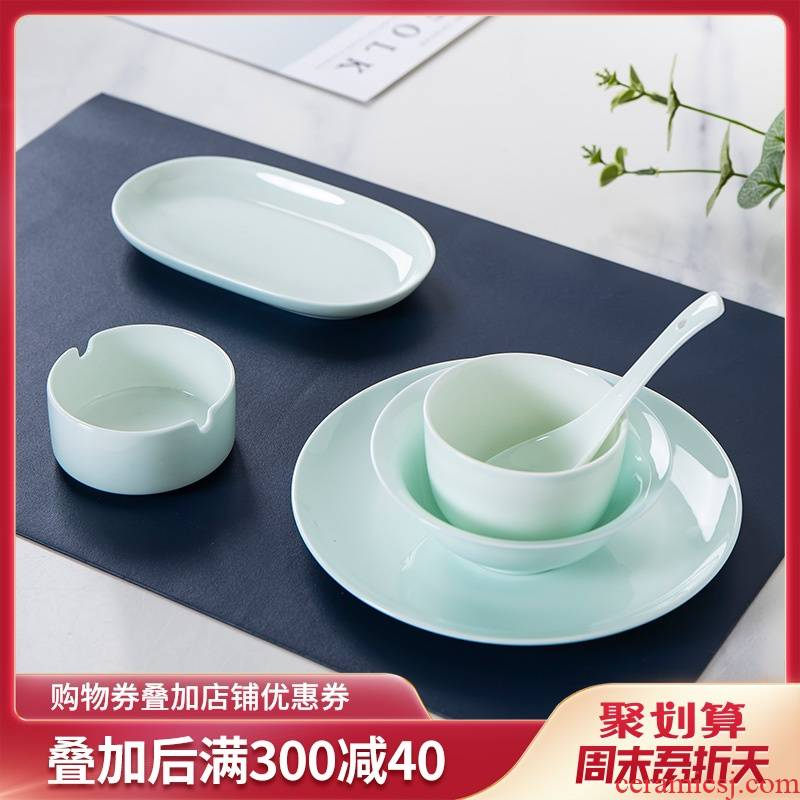 Ipads China tableware club creative Chinese restaurant ceramic plate blue glaze bowls disc plate ipads porcelain table suits for