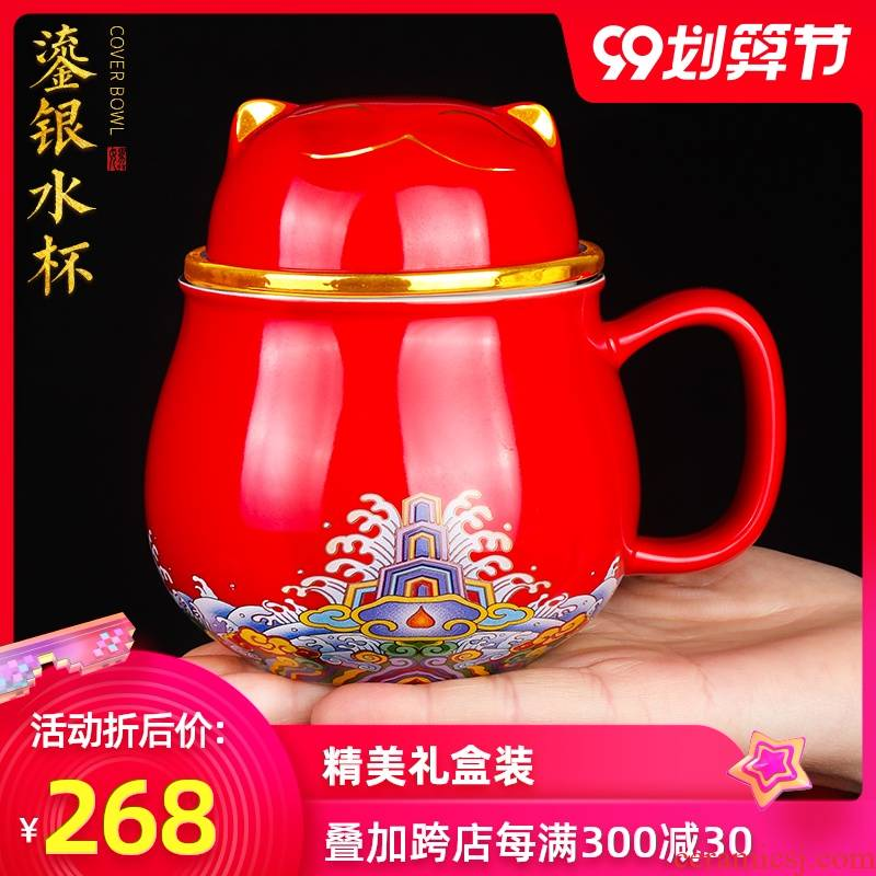 Artisan fairy ceramic coppering. As silver cup manual creative office tea cup and cup with cover filtration separation of tea cups