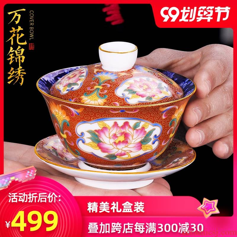 Artisan blue and white only three fairy tureen single ceramic cups household pure manual Chinese kung fu tea set hand - made teacup