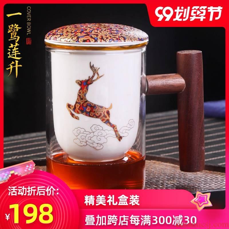 Artisan fairy high borosilicate glass glass ceramic colored enamel lid pure manual bladder separation filter tea cup