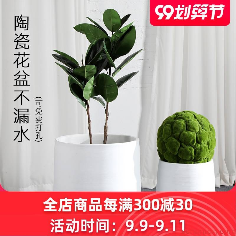 Green plant in northern black ceramic vase flowerpot I and contracted indoor plant decoration cylinder hydroponic POTS of large diameter