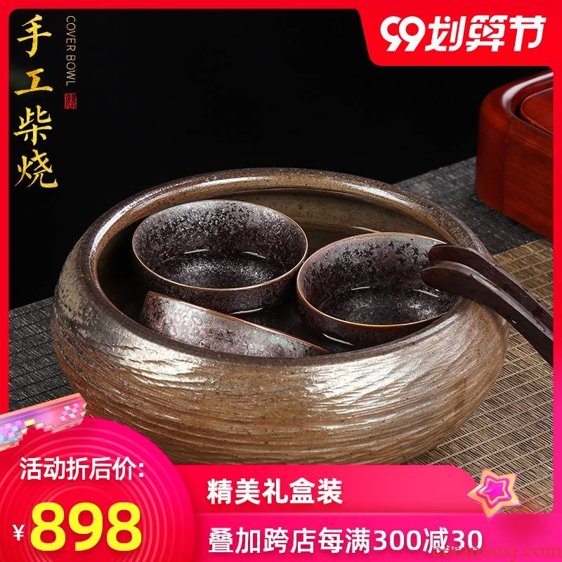 Artisan fairy pure manual firewood tea wash to large domestic cup for wash washing water jar retro ceramic kung fu tea set with parts