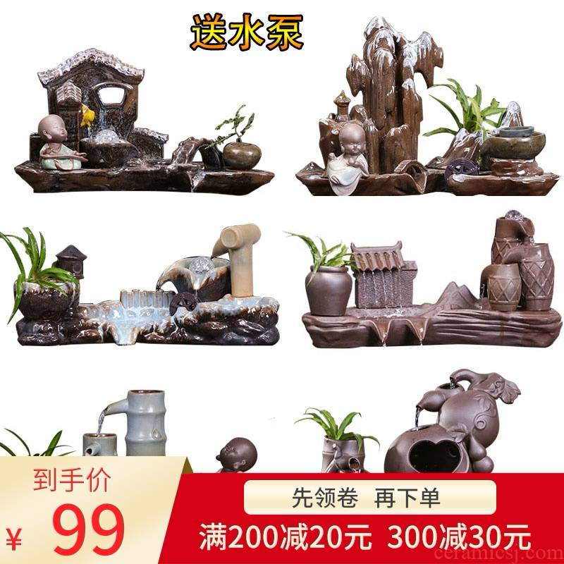 Ceramic furnishing articles furnishing articles automatic cycle - oxygen tank water fish farming water fountain indoor household humidifier
