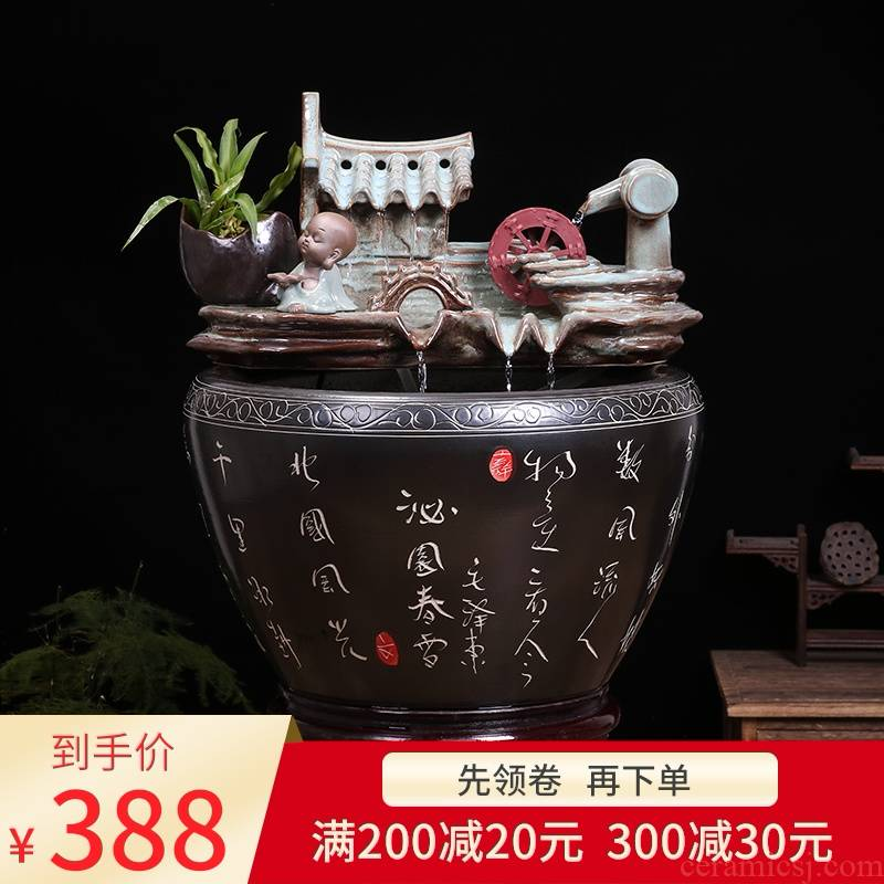 Jingdezhen ceramic water fountain lucky feng shui wheel place to live in the living room and humidifying aquarium the opened a housewarming gift