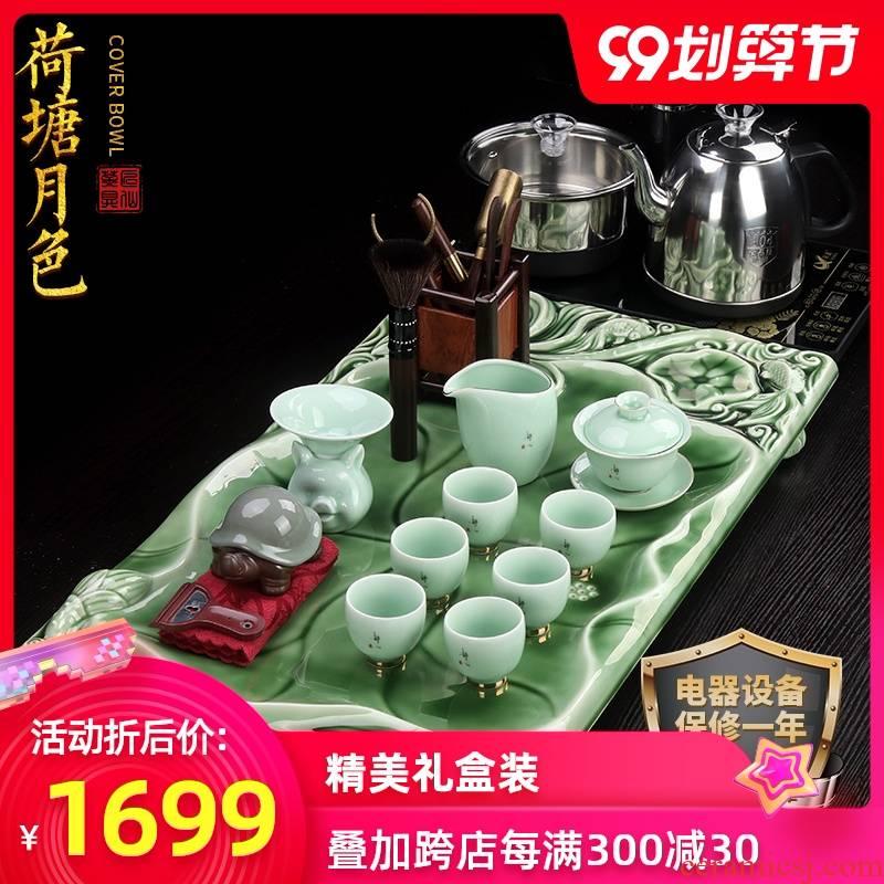 Artisan fairy kung fu tea sets tea tea table one ceramic household cup tea tray was suit celadon tea set