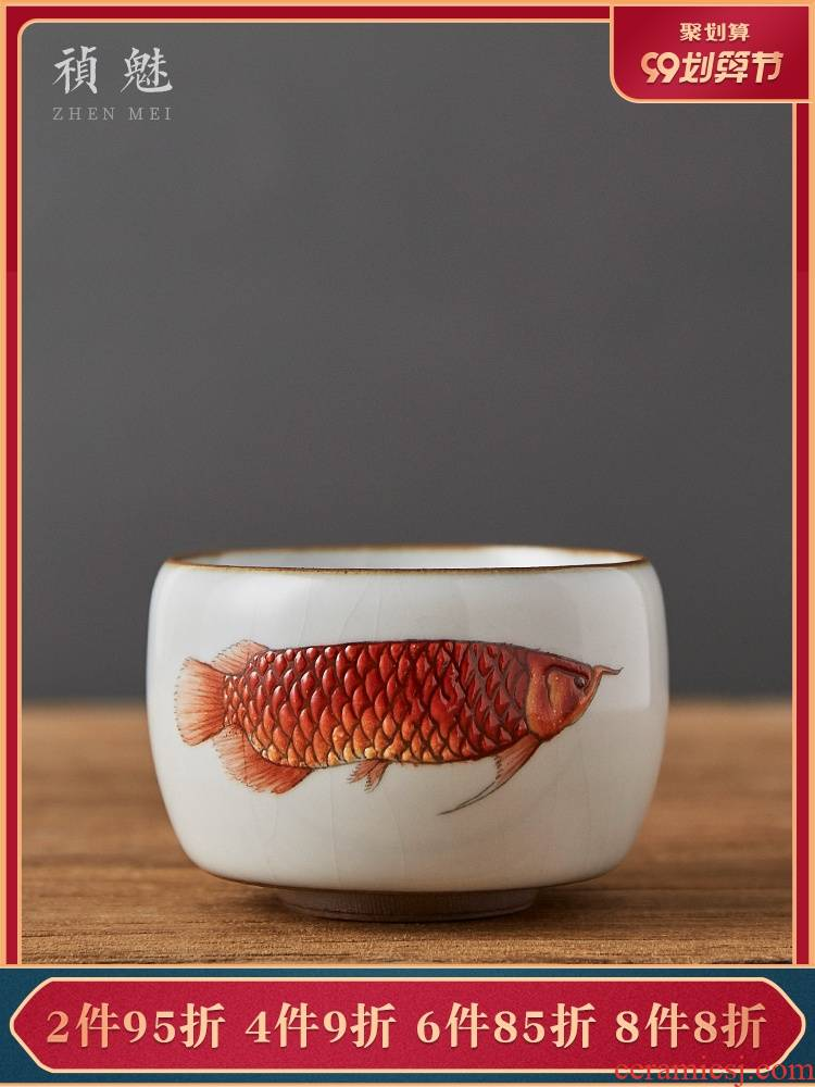 Shot incarnate your up hand - made gold dragon fish master cup single CPU jingdezhen ceramics kung fu tea set sample tea cup personal single CPU