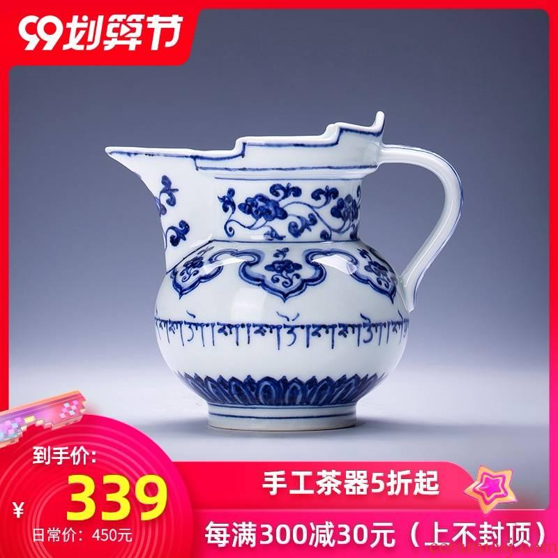 Holy big ceramic fair keller hand - made imitation Ming blue and white Sanskrit mitral tea sea hand points of jingdezhen tea service