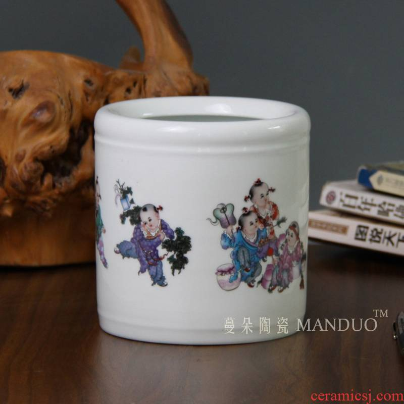 High - grade ceramic brush pot straight vase supplies decorative furnishing articles pen container M six flower culture study
