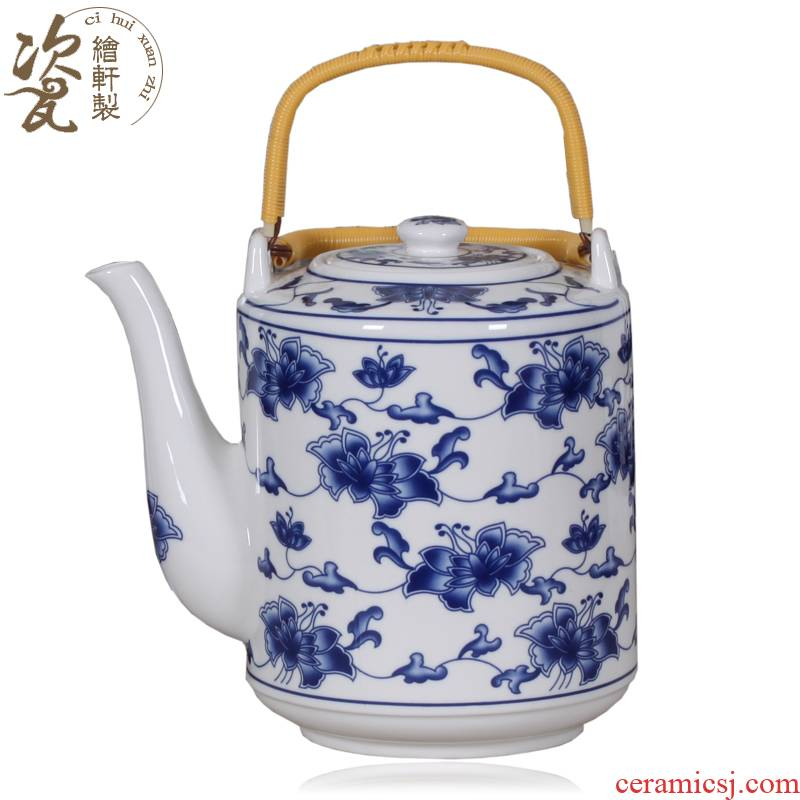 Jingdezhen blue and white ipads China super cool tea pot teapot ceramic teapot hotel teahouse household girder teapot