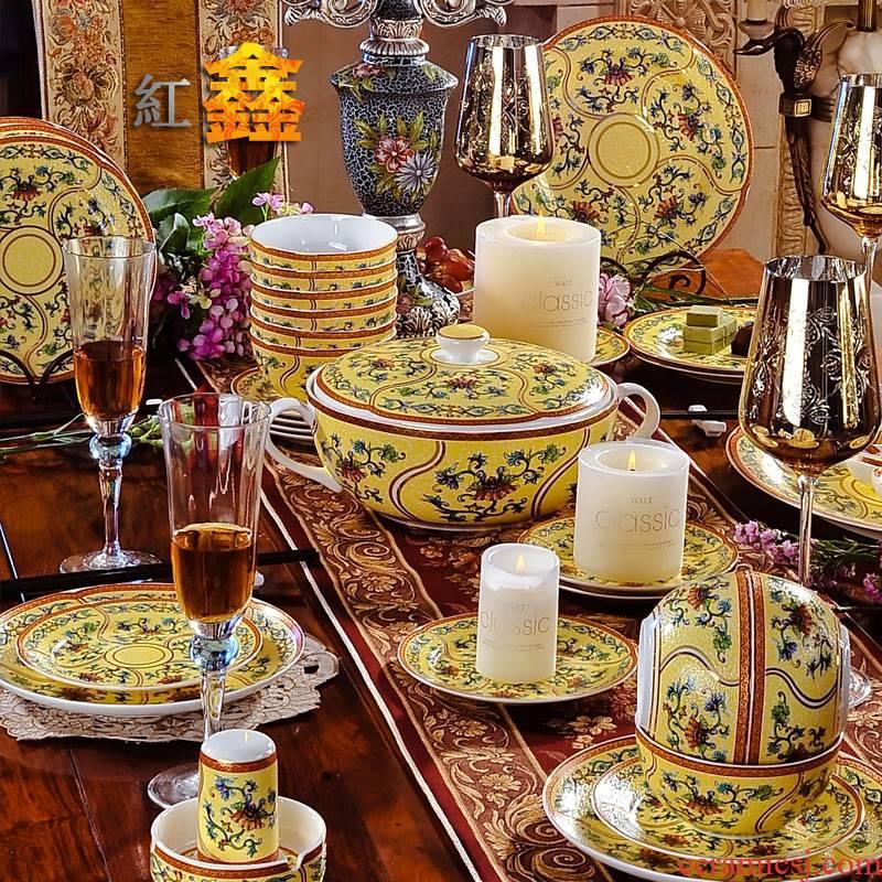 Qianlong ocean see colour 56 】 head jingdezhen tableware suit enamel pastel color yellow antique tableware bowls