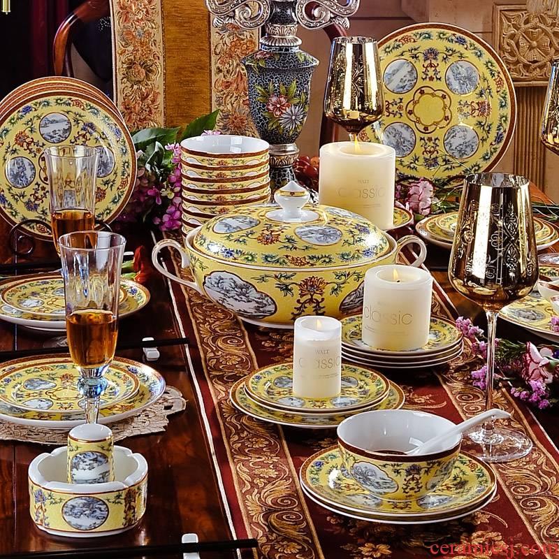 60 qianlong ocean see colour 】 【 skull porcelain tableware suit European imperial up household enamel bowls plates suits for